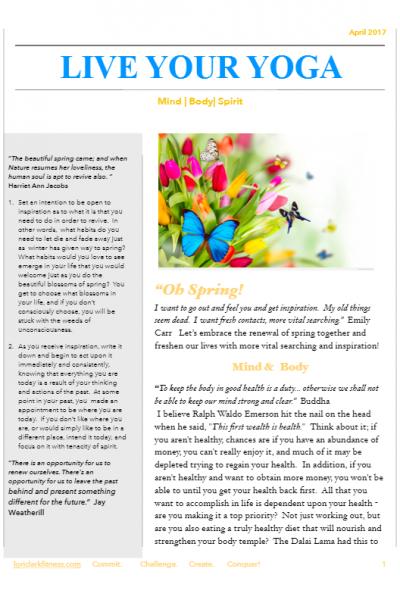 April 2017 Yoga Newsletter