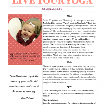 February 2017 Yoga Newsletter