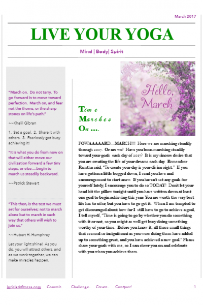March 2017 Yoga Newsletter