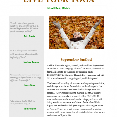 September 2017 Yoga Newsletter