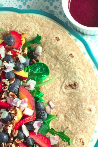 Peaches and Greens Breakfast Wrap