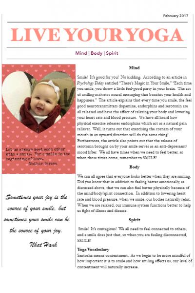 February 207 Yoga Newsletter