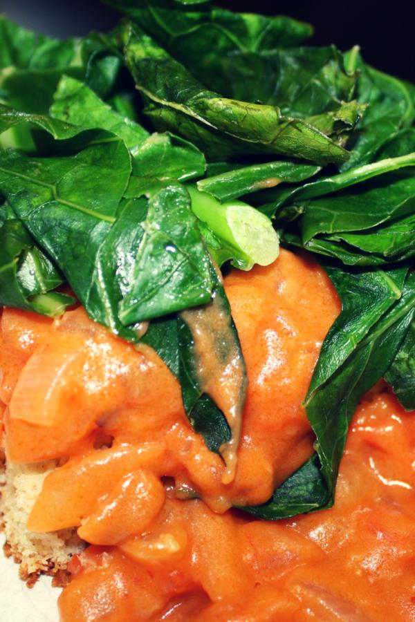 Southern Cornbread & Greens with Tomato Gravy